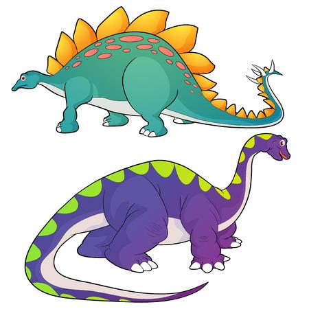 Cute Dinosaurs vector cartoon stegosaurus and apatosaurus actions