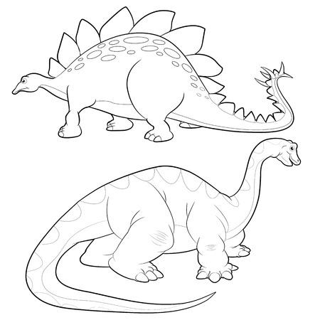 Cute Dinosaurs vector cartoon stegosaurus and apatosaurus lineart actions
