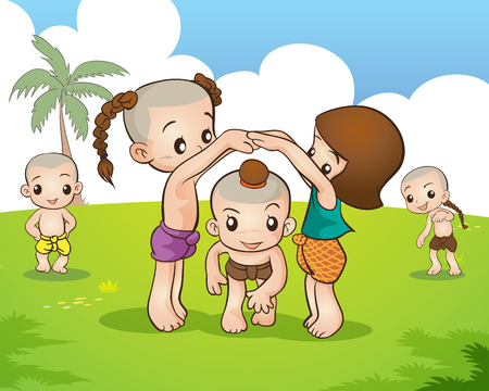 Illustration pour Traditional Thai Children are playing traditional Thai game - image libre de droit