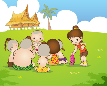 Illustration for Traditional Thai Children are playing traditional Thai game - Royalty Free Image