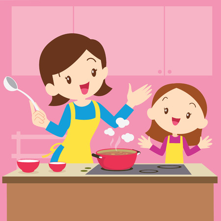 Illustration pour Illustration of a mother and daughter cooking - image libre de droit