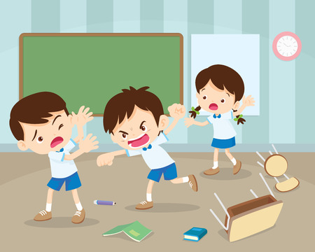 Illustrazione per angry boy hitting him friend.Little angry boy shouting and hitting.Quarreling kids in classroom. - Immagini Royalty Free