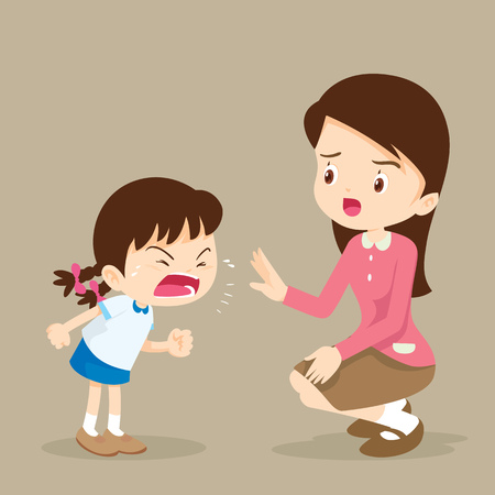 Illustration pour Teacher have worry and Rampage angry girl.aggressive children. - image libre de droit