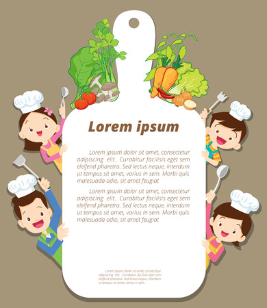 Illustration for Cute family cooking meal menu ,poster,banner template. dad ,mom ,daughter, son enjoys with vegetables background. - Royalty Free Image