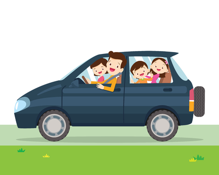 Illustration pour Traveling family. A young family with children go on a trip by car.People set father, mother and children sitting in Car. - image libre de droit