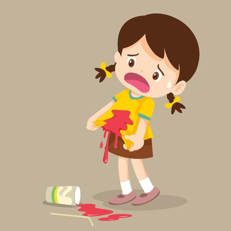 Ilustración de Little Girl are stained at the shirt.accident beverage Drop on the shirt. - Imagen libre de derechos
