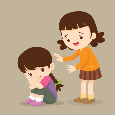 Illustration pour Cute Girl Comforting Her Crying Friend.Children Consoling cry isolate background - image libre de droit