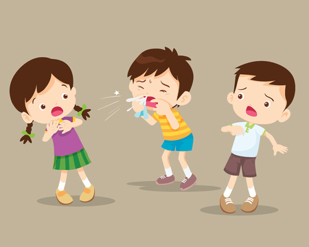Ilustración de Child blow the nose. Cute boy using tissue to wipe snot from his nose.coughing child to friend - Imagen libre de derechos