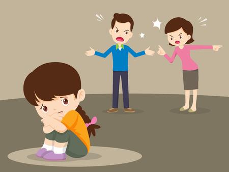 Ilustración de husband and wife quarreling.Parents quarrel and child listen. Family conflict.  - Imagen libre de derechos