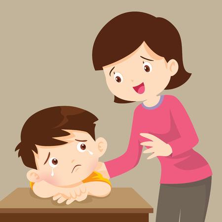 Illustration pour  sad children wants to embrace.Mother Comforting Upset Elementary School Pupil.teacher comforting sad boy - image libre de droit