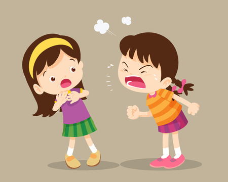 Illustration pour angry children.Quarreling kids. angry girl shouting at friend.Raging kids.children shouting to each other. - image libre de droit