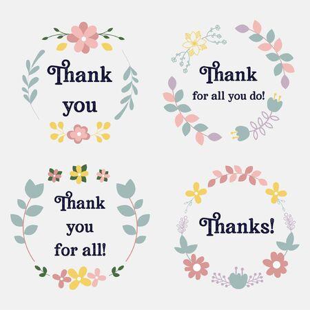 Ilustración de Collection of thank you tags with flowers vector - Imagen libre de derechos