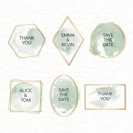 Ilustración de Collection of watercolor stains badges for weddings vector - Imagen libre de derechos