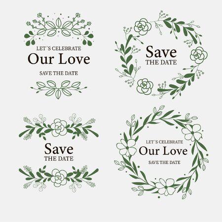 Ilustración de Collection of labels with flowers for weddings vector - Imagen libre de derechos
