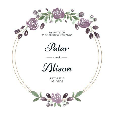 Ilustración de Wedding invitation with flowers in pink watercolor - Imagen libre de derechos