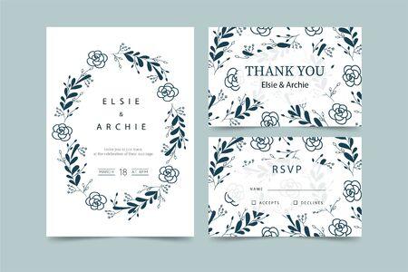 Ilustración de Wedding invitation with flowers in blue - Imagen libre de derechos