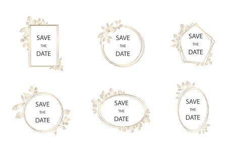 Ilustración de Collection of vector wedding frame logos. Wedding - Imagen libre de derechos