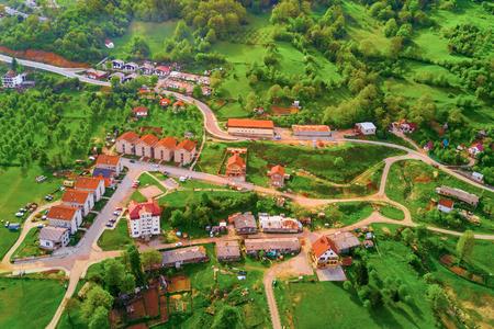 Foto de Top view of small European city in the mountains - Imagen libre de derechos