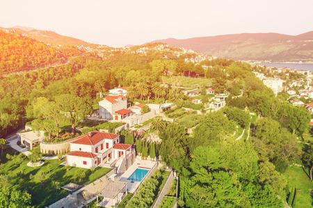 Foto de Top view of beautiful resort town in the sunshine - Imagen libre de derechos