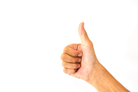 Photo for The thumbs up of a man's thumb is like a symbol or a compliment isolated on white background. - Royalty Free Image