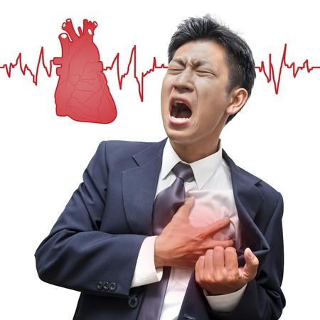 Foto de Businessman Heart Attack in Isolated - Imagen libre de derechos