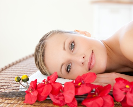 Photo for Radiant woman relaxing in a Spa center - Royalty Free Image