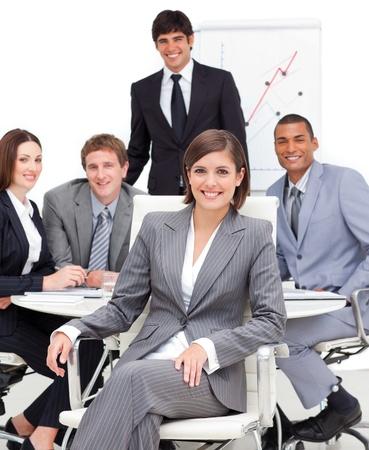 Foto de Happy business group having a meeting - Imagen libre de derechos