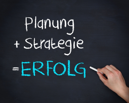 Man writing planung strategy and erfolg on chalkboard