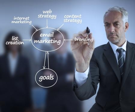 Photo pour Elegant businessman writing marketing terms in front of a business team - image libre de droit