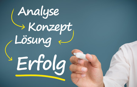 Businessman writing problem analyse konzept losung and erfolg with marker