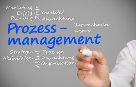 Hand writing prozessmanagement with a marker against grey backround