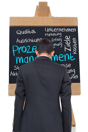 Composite image of process management written on blackboard in german against white background
