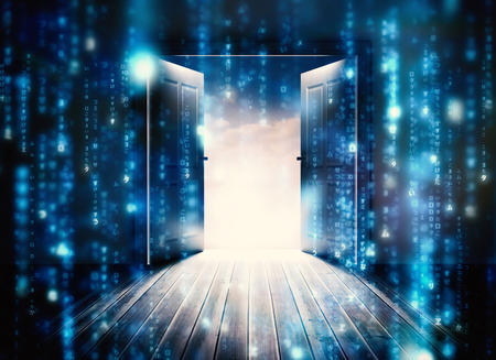 Foto de Doors opening to reveal beautiful sky against lines of blue blurred letters falling - Imagen libre de derechos