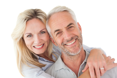 Photo for Close up portrait of happy mature couple over white background - Royalty Free Image