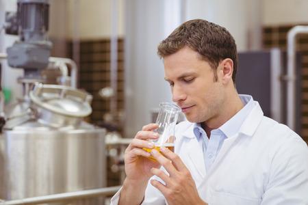 Foto de Focused brewer smelling beaker with beer in the factory - Imagen libre de derechos