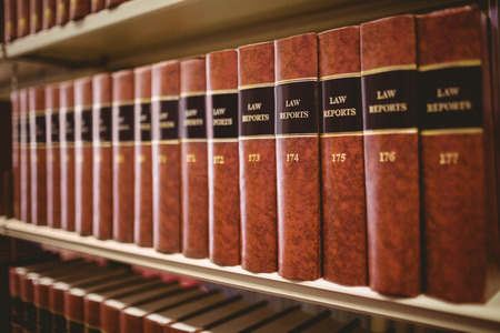 Photo pour Close up of a lot of law reports in library - image libre de droit