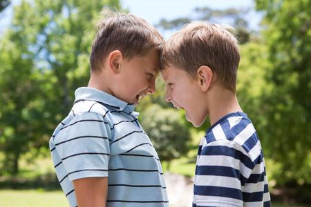 Photo pour Little boys having a fight on a sunny day - image libre de droit
