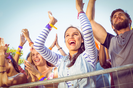 Photo for Excited music fans up the front at a music festival - Royalty Free Image