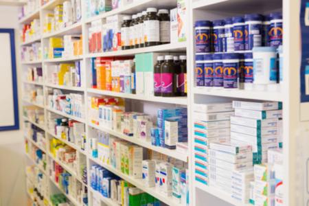 Foto de Close up of shelves of drugs in the pharmacy - Imagen libre de derechos