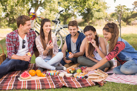 Photo pour Happy friends in the park having picnic on a sunny day - image libre de droit