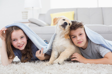 Photo pour Portrait of cute siblings with dog under blanket in living room - image libre de droit