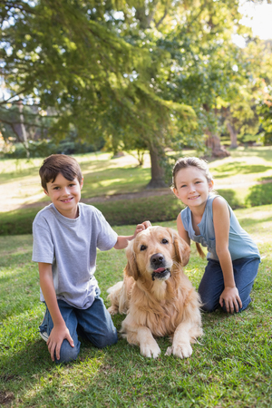 Photo for Sibling with their dog in the park on a sunny day - Royalty Free Image