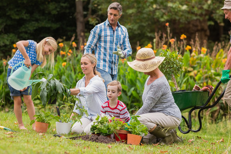 Photo pour Happy family gardening on a sunny day - image libre de droit
