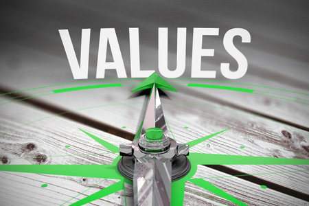 Photo for The word values and compass against digitally generated grey wooden planks - Royalty Free Image