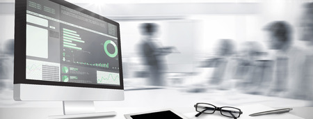 Foto de Computer screen against business interface - Imagen libre de derechos
