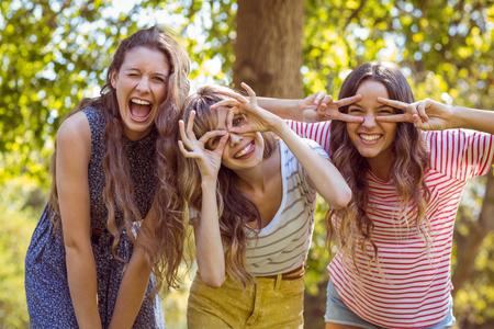 Photo pour Happy friends taking a selfie on a summers day - image libre de droit