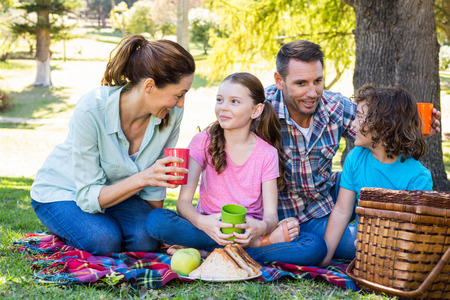 Photo pour Happy family on a picnic in the park on a sunny day - image libre de droit