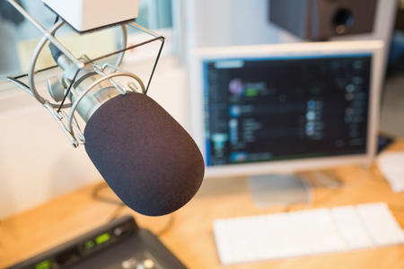 Photo for Close-up of microphone in radio station - Royalty Free Image