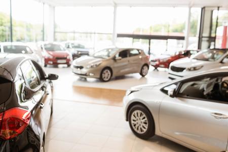 Foto de View of row new car at new car showroom - Imagen libre de derechos