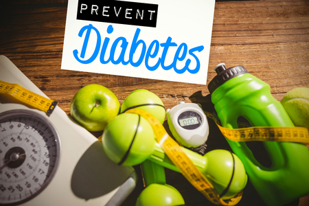 Photo pour Prevent diabetes against indicators of healthy lifestyle - image libre de droit